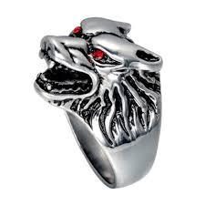 online shop men u0027s rings domineering ring red eyes silver wolf ring