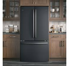 white kitchen cabinets with black slate appliances pwe23kelds ge profile 36 counter depth 23 1 cu ft door refrigerator with water dispenser black slate