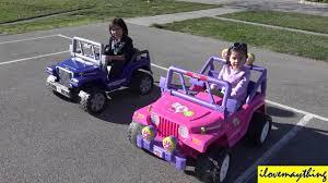 power wheels wheels jeep wrangler ride on power wheels racing blue jeep wrangler vs pink barbie