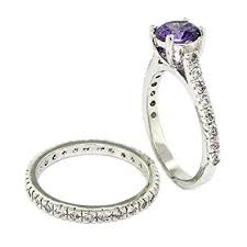 amethyst engagement ring sets classic vintage wedding ring set w amethyst white czs