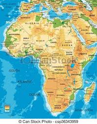 algeria physical map africa physical map highly detailed physical map of clipart