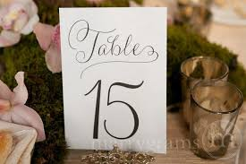 numerical wedding table numbers signs thin style