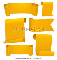 paper ribbons yellow template set curled paper stock vector 551896846