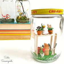diy spring jars with garden miniatures in vintage glass mason jars