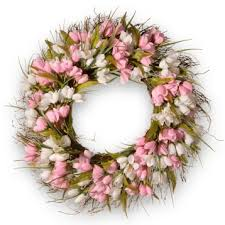 tulip wreath pink and white tulip wreath kirklands