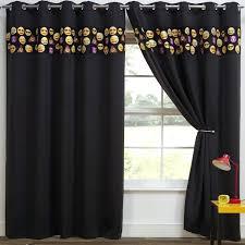Blackout Curtains Black Black Curtains Emoji Eyelet Thermal Blackout Curtains Black Black