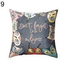 vintage owl linen pillow case sofa waist throw cushion cover home