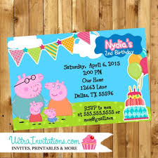 peppa pig personalized party invitations printable birthday invites