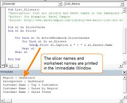 how to list all slicers in the excel workbook with vba excel campus