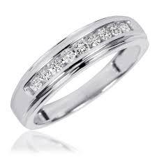 14k gold wedding ring sets 3 4 ct t w trio matching wedding ring set 14k white gold