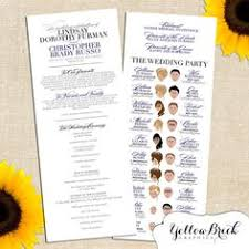 printed programs whimsy wedding program printed programs or by yellowbrickgraphics