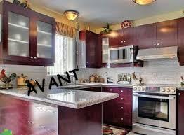 cuisine bourgogne armoires de cuisines avec ajout de moulures chêtres blanc gris