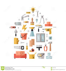 home repair and construction flat multicolored vector background