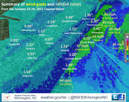 Map Of Wilmington Nc Wind Gusts And Rainfall Totals From The January 23 24 2015