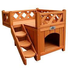 confidence pet wooden house kennel with balcony walmart