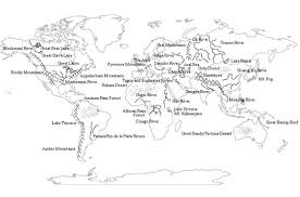 world map mountains rivers deserts for geography learn the world features with