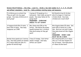 division word problems levels 3a 4c 4b by emmastead teaching