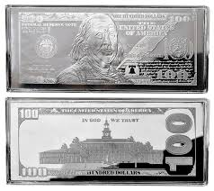2017 100 4oz silver currency silver bars franklin design