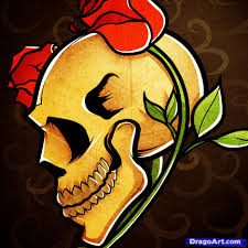 how to draw a skull and roses skull and roses by