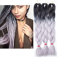 ombre kanekalon braiding hair amazon com 3pcs lot ombre kanekalon grey braiding hair