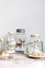 vintage handmade glass snow globe deer reindeer mason jar