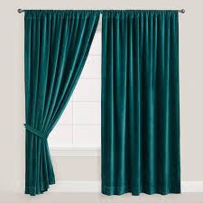 Royal Blue Blackout Curtains Absolute Zero Total Blackout Stone Blue Faux Velvet Curtain Panel