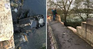 incredible pictures show how bridge crash driver is lucky to be
