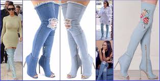 womens denim boots uk womens denim stiletto knee boots shoes peep toe thigh high