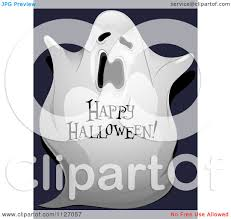 cartoon of a spooky ghost with happy halloween text royalty free