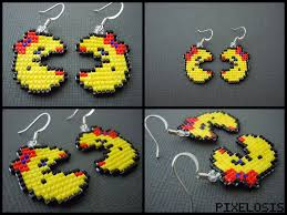 pacman earrings handmade seed bead mrs pacman earrings by pixelosis on deviantart