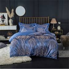 blue queen 2018 new bedding sets full queen size cotton satin