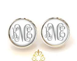 monogrammed earrings monogrammed earrings etsy