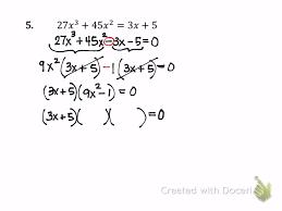 more factoring solving polynomial equations 7 4b part 2