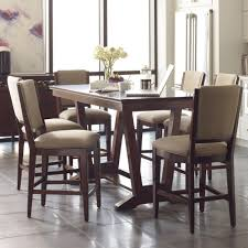 seven piece counter height dining set with upholstered stools by