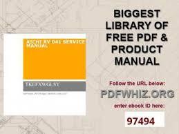 aichi rv 041 service manual youtube