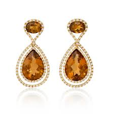 citrine earrings 87ct diamond and citrine 18k yellow gold dangle earrings