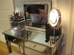 Glass Makeup Vanity Table Furniture Cool Makeup Vanity Set Featuring Mirrored Desk With