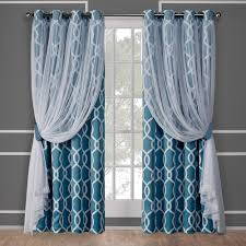 Turquoise Sheer Curtains Carmela Turquoise Layered Geometric Blackout And Sheer Grommet Top
