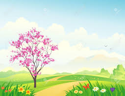 vector illustration of a beautiful spring landscape with a