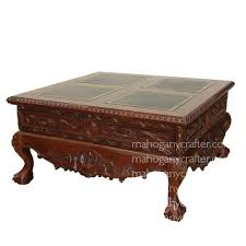Leather Top Coffee Table Rococo Coffee Table With Leather Top Mahogany Crafter Furniture 2017
