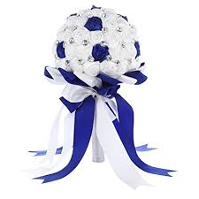 wedding flowers royal blue faybox satin bridal bridesmaid bouquets