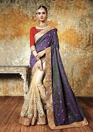 Buy Violet Embroidered Art Silk Two Tone Silk Saree Party Wear Sarees Pinterest Two Tones