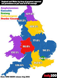 Map Of Wales England by Map Of England And Wales By Drug Of Preference Drugs