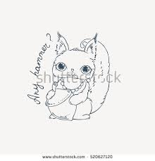 nut coloring page cute carton squirrel nut raster illustration stock illustration