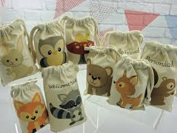 muslin favor bags party favor bags forest woodland animals for baby shower and