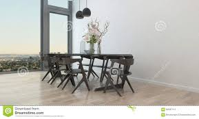 Modern Dining Room Chairs In Modern Table And Chairs In Sparse Dining Room Stock Illustration