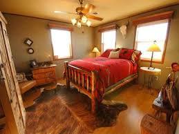 Bedroom Dark Brown Wooden Bed With Red Bedding Set On Dark Brown - Cowhide bedroom furniture