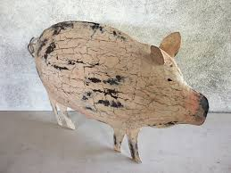 vintage metal folk art pig sign pig decor pig gift pig art pig