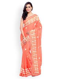 peach color peach saree buy peach color sarees online myntra
