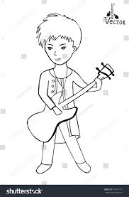 guitarist man guitar music character playing stock vector